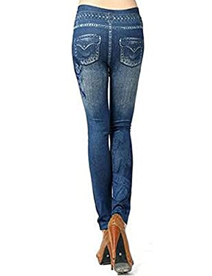 Bestgift Womens Denim Jeans Look Tights Slim Pant