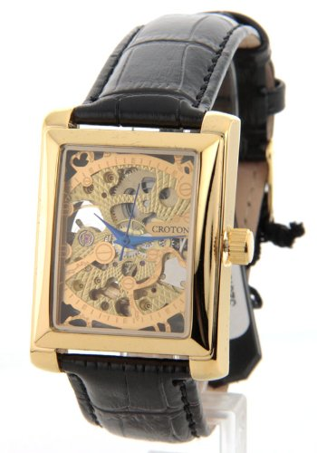 Mens Croton Skeleton AUTOMATIC Movement Sharp Gold Rectangle Dial Black Leather Watch 331066BSSK