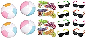 36 Pc -Summer Party Pack - 12 Each- Neon Sunglasses, Beach Balls and Squirt Guns! by toyco
