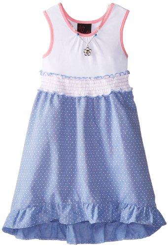 Girls Rule Little Girls' Highlow Chambray Dress, Chambray, 6