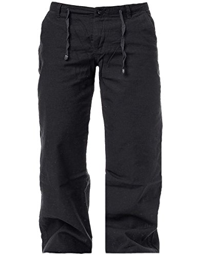 Brandit Pantaloni da uomo Tempo libero Pantaloni effetto lino Rip Stop nero S