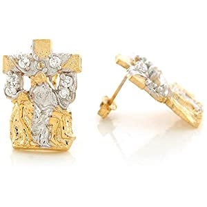 14k Two Tone Real 2.09cm x 1.5cm Gold White CZ Jesus Christ Cross Post Earrings