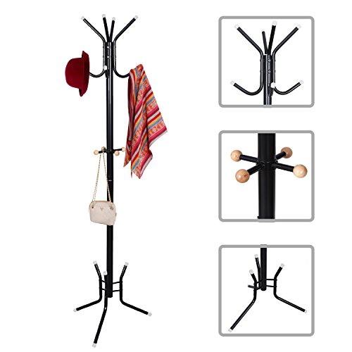 Floor Standing Coat Hat Rack with Umbrella Stand - Iron Tube with Black Finish - 70 x 19.6 x 19.6 inch - 4.4 pounds