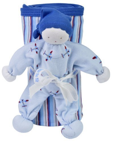 Under The Nile Organic Egyptian Cotton Stroller Blanket and Toy Gift Set - AIRPLANE - 1