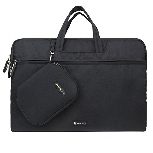 Evecase 15 - 15.6 Inch Dual Layer Ultra Soft Padded Sleeve Case Carrying Briefcase With Handle + Acessories Bag + Mouse Pad - For Laptop / Chromebook / Ultra Book And More - Black