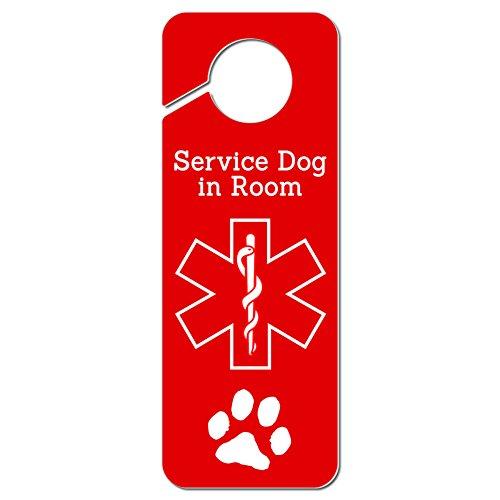 Service Dog in Room Medical Alert Plastic Door Knob Hanger Sign