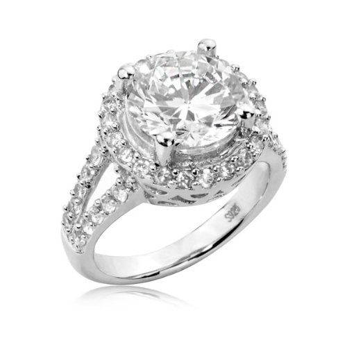 Sterling Silver Ring Round Cubic Zirconia CZ Ring 4.4 ct.tw - Nickel Free Engagement Wedding Ring (Available in Sizes 6 to 8) [Size 7]