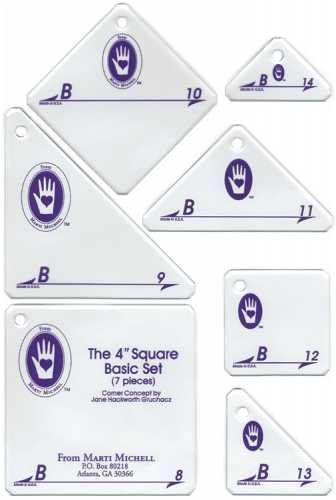 Perfect Patchwork 4-Inch Template Set B, Basic Square Set, Package of Seven