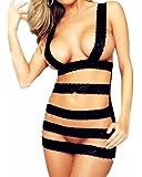 Samgu Nouveau sous vêtements sexy robe de lingerie Lady Black Teddy