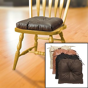 Kennedy Home Collections Faux Leather Tufted Chair Pad In Chocol