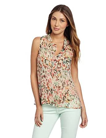 Gypsy 05 Women's Medewi Leopard Sleeveless Placket Top, Moonbeam, X-Small