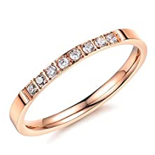 buy Womens Wedding Bands Stainless Steel Rose Gold Round Shaped Size 5 By Aienid