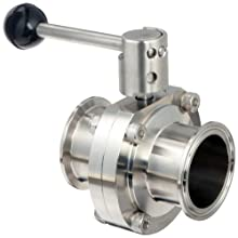 "Dixon B5101E200CC-A Stainless Steel 316L Butterfly Valve with Pull Handle and EPDM Seal, 2"" Tube OD"