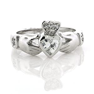 .925 Sterling Silver Irish Claddagh Friendship and Love Diamond CZ Heart Band Ring Size 5, 6, 7, 8, 9 Nickel Free (7)