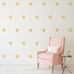 Gold Polka Dots Wall Decals (6\