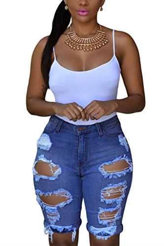 Dokotoo Womens Casual Denim Destroyed Bermuda Shorts Jeans Large Denim Casual Shorts