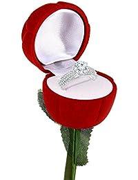 Meenaz Valentine Heart Rings For Girls Gold Plated In American Diamond Jewellery Velvet Red Rose Ring Box For...