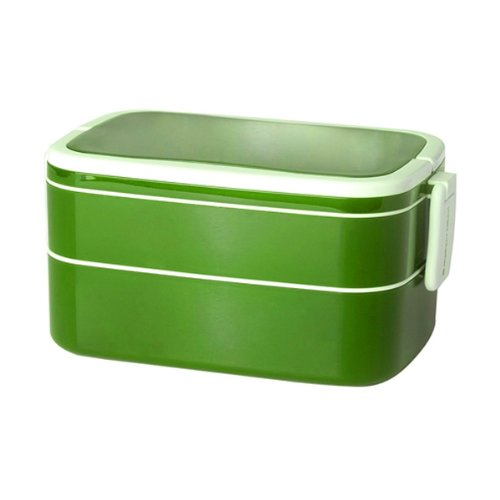 Double Stack Bento Box With Handles - Bpa Free - 7 Piece Lunch Box Set (Lime)