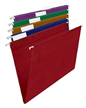 Pendaflex Earthwise 100% Recycled Colored Hanging File Folders, Letter Size (8.5 x 11), Assorted Colors, 20 per Box (35117)