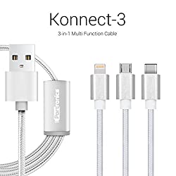 Portronics Konnect 3 Three-in-One multifunction (micro USB / lightning / type C) cable-Silver