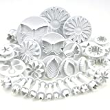 Beety 10 Sets (33 Pcs) Cake Tools Plunger Cutters Sugarcraft Cake Decorating (Heart, Veined Butterfly, Star, Daisy, Veined Rose Leaf ,Carnation, Blossom, Flower, Sunflower , Other)