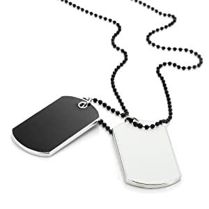 Army Style 2pcs Dog Tag Pendant Mens Necklace Chain (Black and White)
