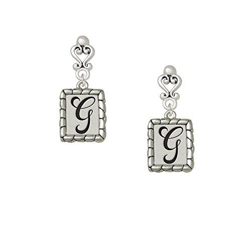 Pebble Border Initial - G Filigree Heart Earrings