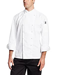Chef Revival J006 Chef-Tex Poly Cotton Corporate Chef Jacket with White Piping and Cloth Covered Button Style, 3X-Large, White