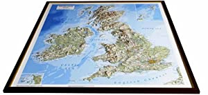 British Isles Raised Relief Map: Light Wood Frame (Raised Relief Maps Series)