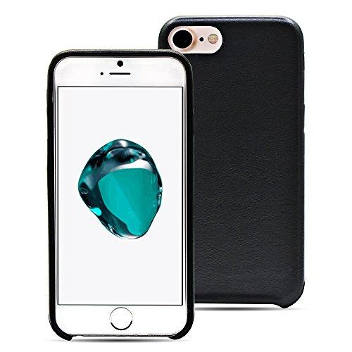MANNA Cover iPhone 7 - 4,7 pollici - Custodia artigianale in vera pelle nera Astana rifinita a mano per iPhone 7