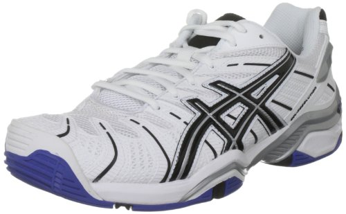 Asics Men's Gel Resolution 4 White/Black/Lightning Tennis Shoe E201N 0190 9 UK