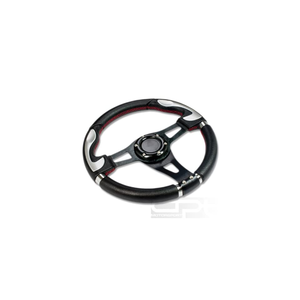 "SW T340, 320mm 12.5"" Black PVC Leather Red Stitch Silver Trim Black Spoke 6 Hole Racing Aluminum Steering Wheel with Horn Button Automotive"