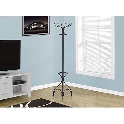 Monarch Coat Rack with an Umbrella Holder, Black, 70