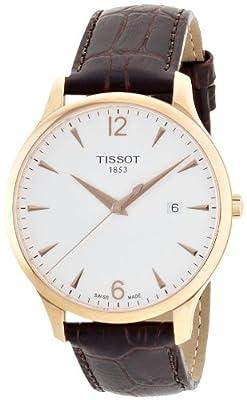 Tissot Men's T0636103603700 Analog Quartz Brown Leather Strap Silver Dial Watch