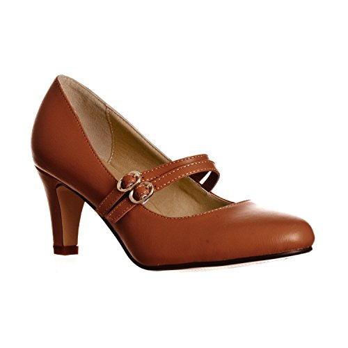 Riverberry Women's Mila Chunky Mid Heel Mary Jane Pumps, Brown PU, 9