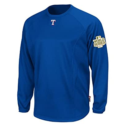 MLB Men's Texas Rangers Therma Base Tech Fleece Pullover with 2011 World Series Patch
