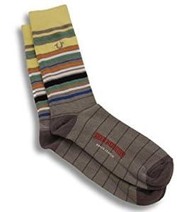 True Religion Men's Multi-Color Casual Cotton Crew Sock (Lime/Grey Multi-Stripe)