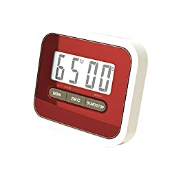 Preyank Solar Compact Lab & Kitchen Timer Stop Watch With Alarm, Large Digital LCD Display. With Table Stand & Fridge Magnet Red