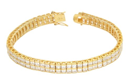 Silevr 1M Gold Plated 2 Row Cubic Zirconia Tennis Bracelet 20 cm