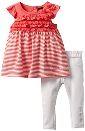 Calvin Klein Baby-girls Infant Top with Pants, Pink, 12 Months