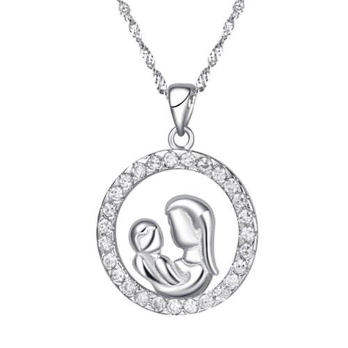Chaomingzhen White Gold Plated 925 Sterling Silver Cubic Zirconia Charm Round Mother and Child Son Pendant Necklace for Women Fashion Jewellery Chain18