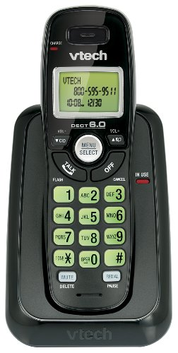 Vtech Dect 6.0 Single Handset Cordless Phone with Caller ID, Green Backlit Keypad and Display (CS6114-11)