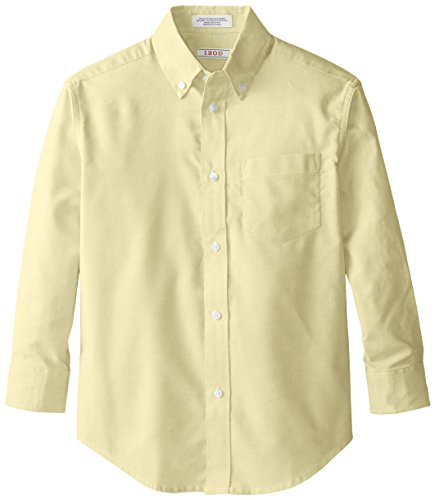 IZOD Big Boys' Long Sleeve Solid Oxford Shirt, Ox Yellow, Large