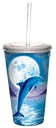Tree-Free Greetings 80086 Dolphin Moon Collectible Art Double Wall Cool Cup with Straw 16-Ounce Multicolored