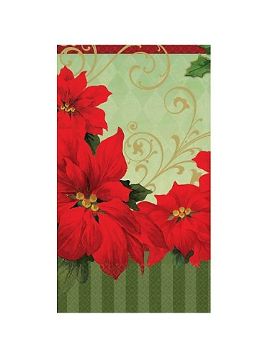Vintage Poinsettia Guest Towels (36 Pack) - 1