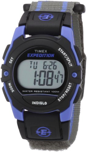 Timex Unisex T49660 Expedition Classic Digital Chrono Alarm Timer Blue/Gray Fast Wrap Velcro Strap Watch