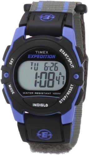 Timex Unisex T49660 Expedition Classic Digital Chrono Alarm Timer Blue/Gray Fast Wrap Velcro Strap Watch