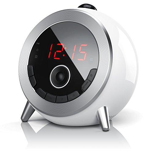Brandson - Retro Radiowecker mit Projektion | Projektionswecker / Uhrenradio / digitaler Wecker | Radio FM | Fokussierring | weiß