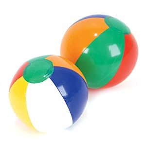 "One Dozen ~(12)~ 6"" Rainbow Colored Beach Balls"