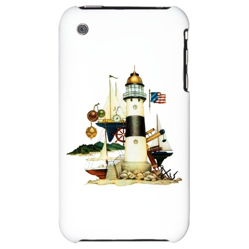 Iphone 3G Hard Case Nautical Vintage Lighthouse Telescope Steering Wheel Anchor And Ships